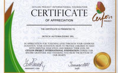 Ceylon Project - Intech donation